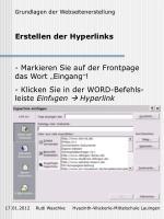 erstellen der hyperlinks