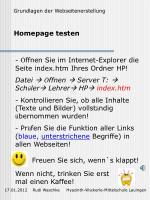 homepage testen