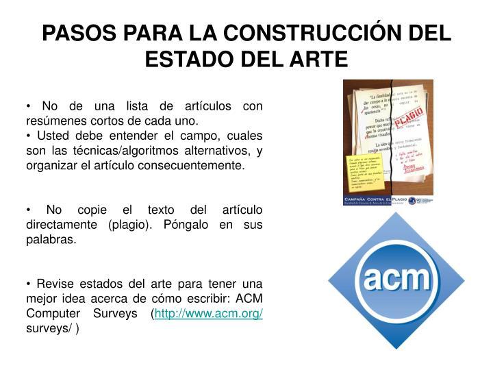 PASOS PARA LA CONSTRUCCIÓN DEL ESTADO DEL ARTE