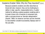 academic enabler skills why are they important cont