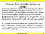academic skills cumulative mastery log example