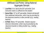 aimsweb cut points using national aggregate sample