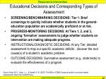 educational decisions and corresponding types of assessment
