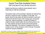 explicit time drills available online math computational fluency building intervention