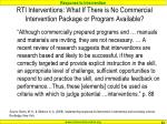 rti interventions what if there is no commercial intervention package or program available