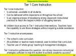 tier 1 core instruction
