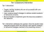 tier i classroom intervention