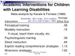 academic interventions for children with learning disabilities