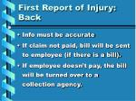 first report of injury back1