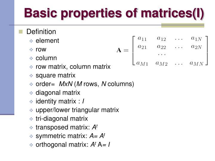 Basic properties of matrices(I)