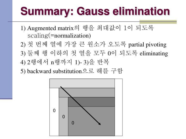 Summary: Gauss elimination