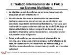 el tratado internacional de la fao y su sistema multilateral