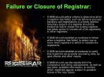 failure or closure of registrar
