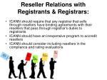 reseller relations with registrants registrars