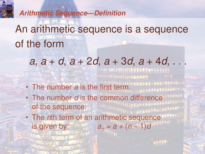Arithmetic Sequence—Definition