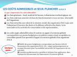 les co ts admissibles et seuil plancher section 4