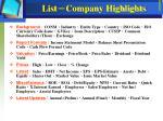 list company highlights