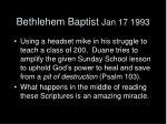 bethlehem baptist jan 17 1993