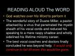 reading aloud the word