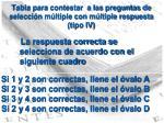 tabla para contestar a las preguntas de selecci n m ltiple con m ltiple respuesta tipo iv