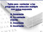 tabla para contestar a las preguntas de selecci n m ltiple con nica respuesta