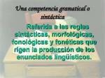una competencia gramatical o sint ctica