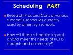 scheduling part