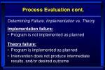 process evaluation cont