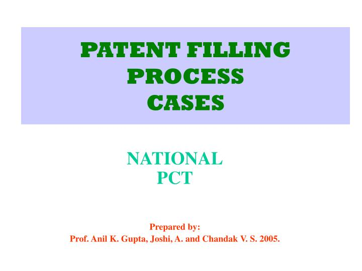 patent filling process cases n.
