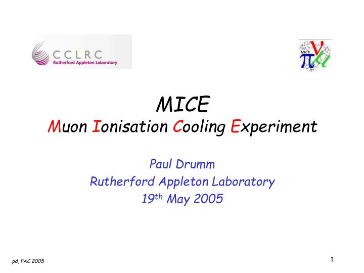 mice m uon i onisation c ooling e xperiment n.