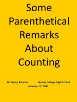 some parenthetical remarks about counting