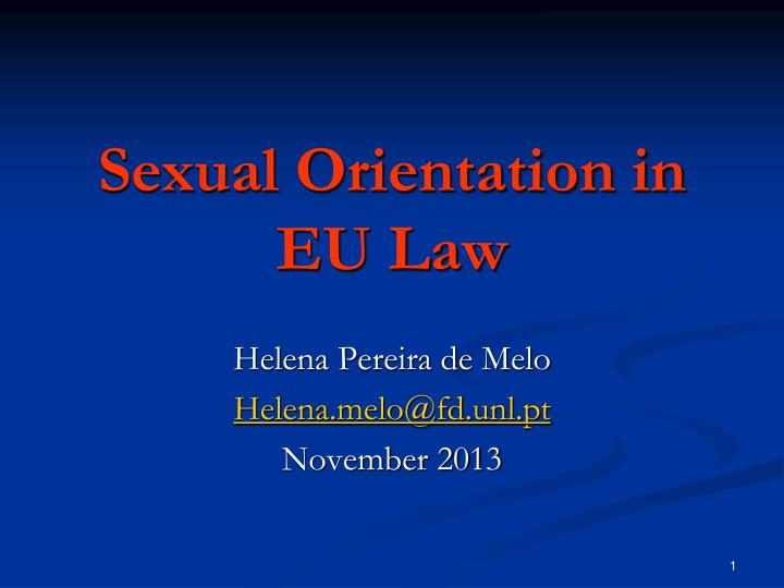 sexual orientation in eu law n.