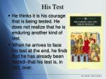 his test