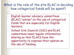 what is the role of the site elac in deciding how categorical funds will be spent