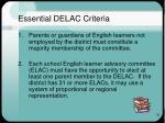 essential delac criteria