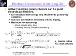 electron acceleration in merging gc