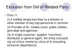 exclusion from def of related party