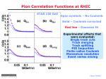 pion correlation functions at rhic