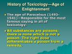 history of toxicology age of enlightenment
