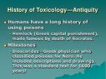 history of toxicology antiquity