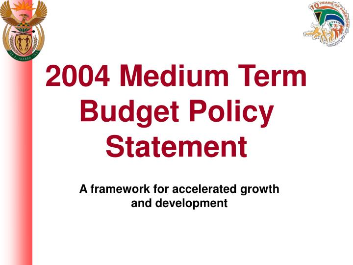 2004 medium term budget policy statement n.