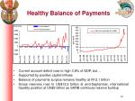 healthy balance of payments