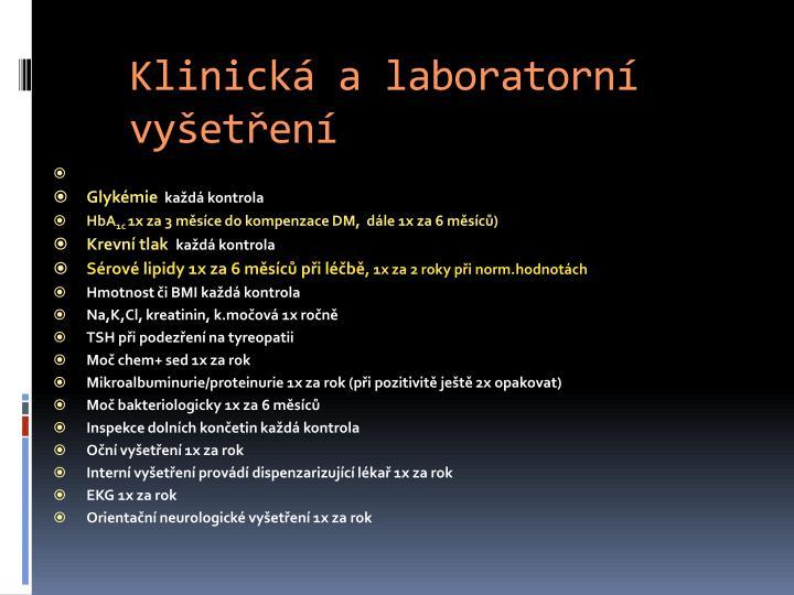 Klinická a laboratorní vyšetření