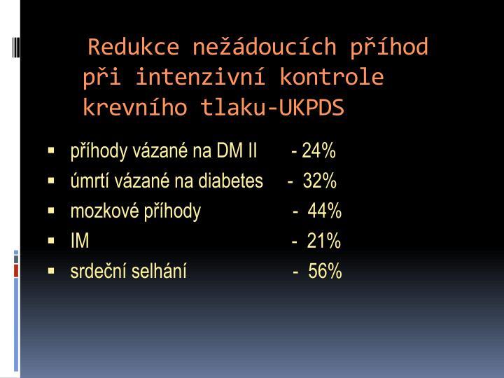 Redukce nežádoucích příhod při intenzivní kontrole krevního tlaku-UKPDS