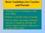 basic guidelines for coaches and parents