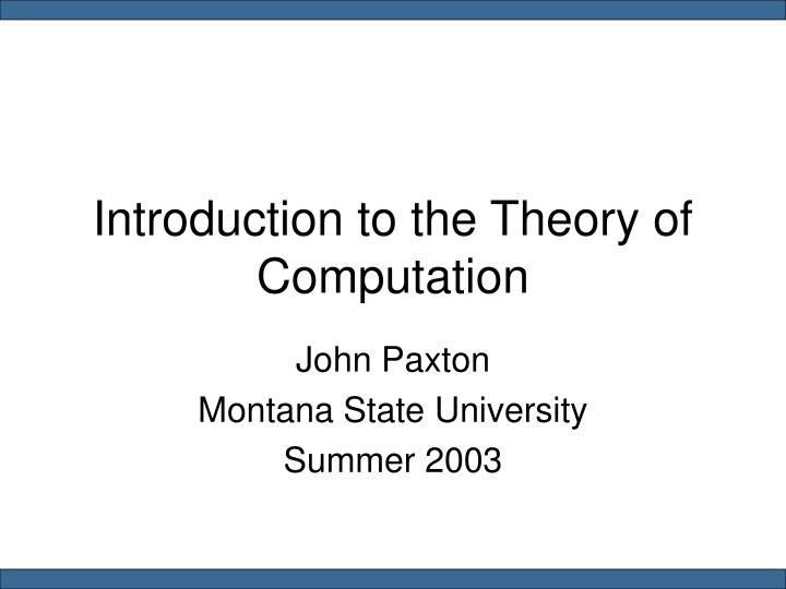 introduction to the theory of computation n.
