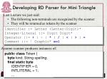 developing rd parser for mini triangle