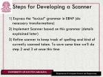 steps for developing a scanner