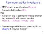 reminder policy invariance
