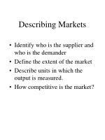 describing markets